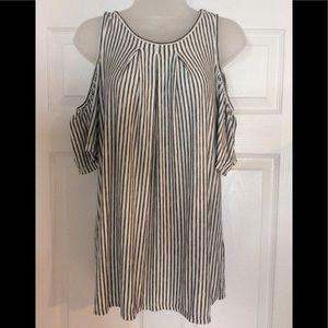 Max Studio striped cold shoulder blouse